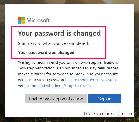 Đặt lại mật khẩu Skype trên trình duyệt web thành công