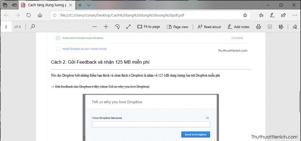 Đọc file PDF bằng trình duyệt Microsoft Edge
