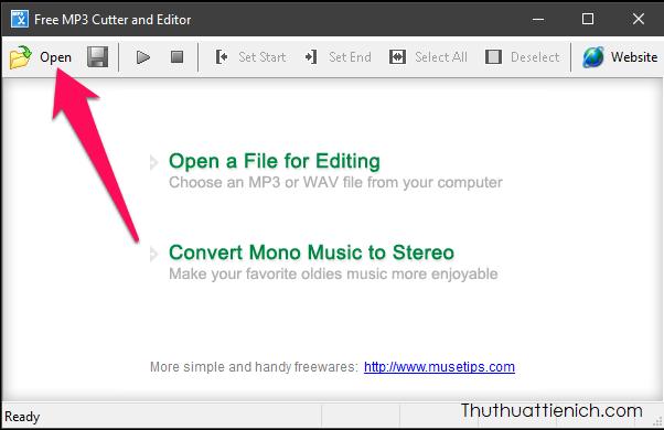 Chạy phần mềm, nhấn nút Open để chọn file nhạc muốn cắt hoặc kéo thả file nhạc trực tiếp vào đây