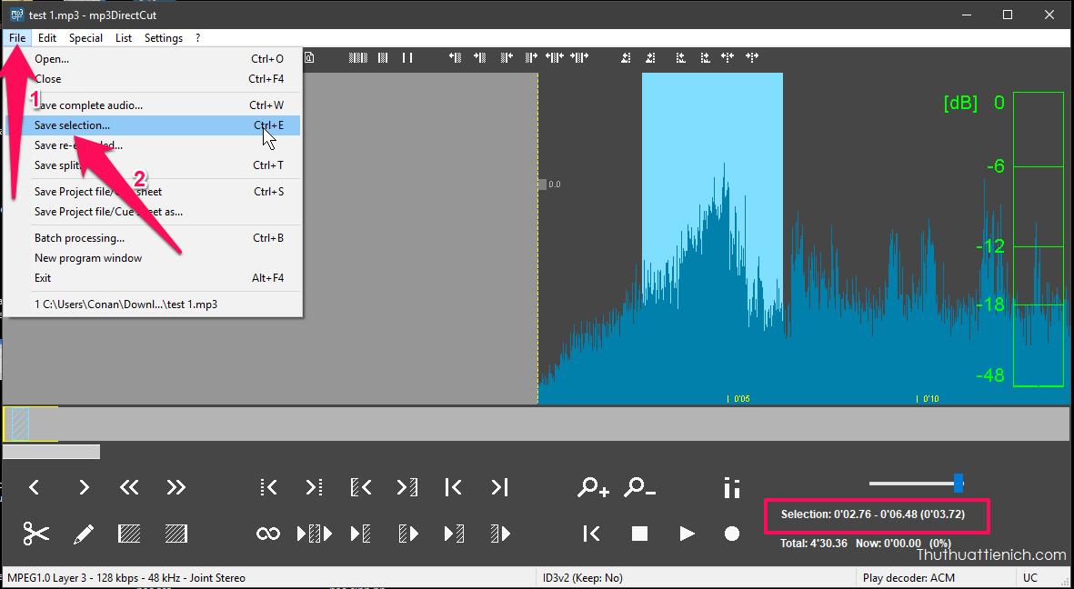 Nhấn, giữ chuột và kéo để bôi đậm phần nhạc muốn giữ lại (hoặc chọn chính xác điểm đầu và điểm cuối của đoạn nhạc giữ lại trong phần Selection) rồi nhấn nút File → Save selection... → Để lưu đoạn nhạc vừa chọn vào máy tính