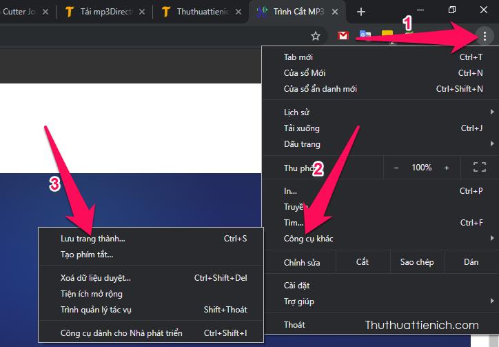 ruy cập trang web cắt-ghép nhạc Online bằng trình duyệt Google Chrome. Nhấn nút 3 chấm dọc góc trên cùng bên phải chọn Công cụ khác → Lưu trang thành...