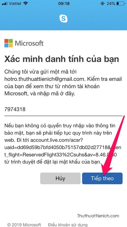 Đăng nhập email, lấy mã xác minh nhập vào khung nhập mã xác minh rồi nhấn nút Tiếp theo