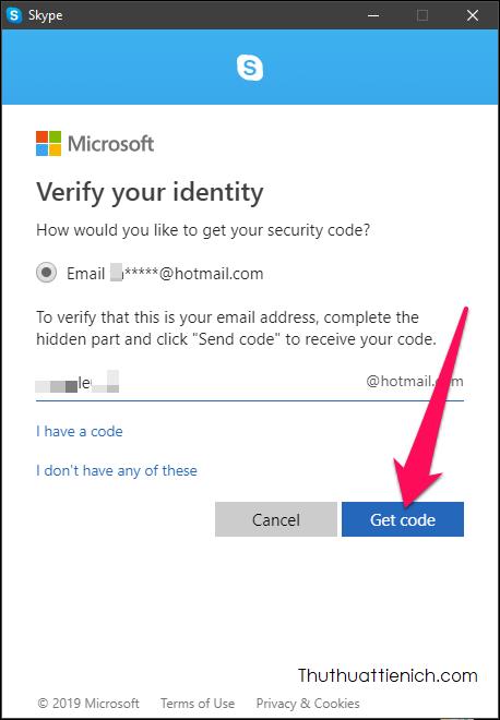 Chọn cách nhận mã xác minh