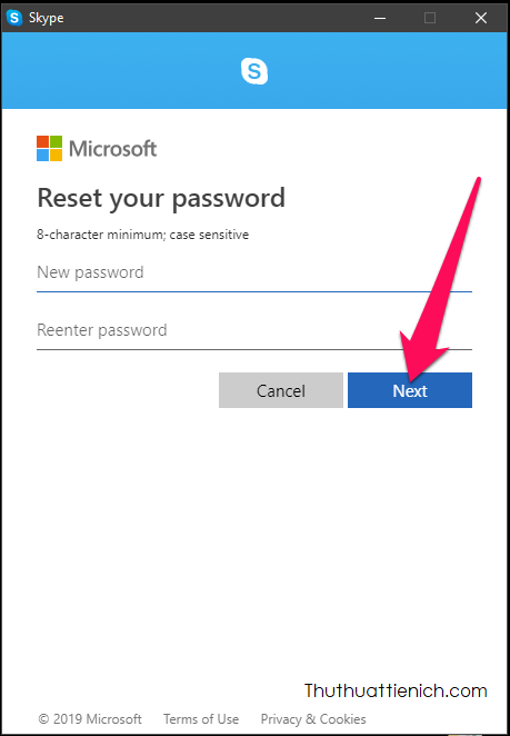 Nhập mật khẩu mới vào 2 khung New password và Reenter password rồi nhấn nút Next