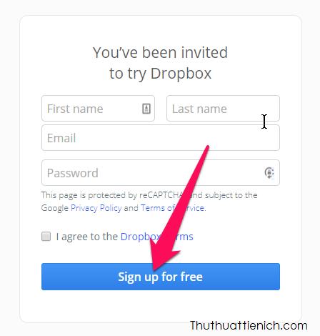 Nhập các thông tin vào form đăng ký rồi nhấn nút Sign up for free