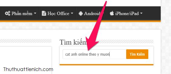 Tìm kiếm sử dụng khung tìm kiếm của trang web