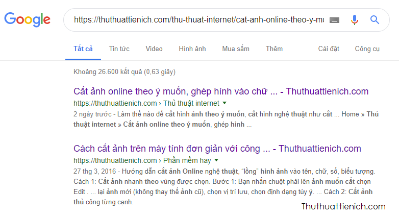 Tìm URL chính xác với Google