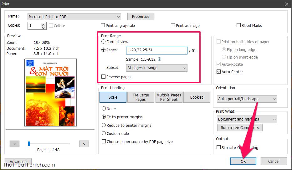 Chọn Name là Microsoft Print to PDF, chọn trang muốn xóa rồi nhấn nút OK