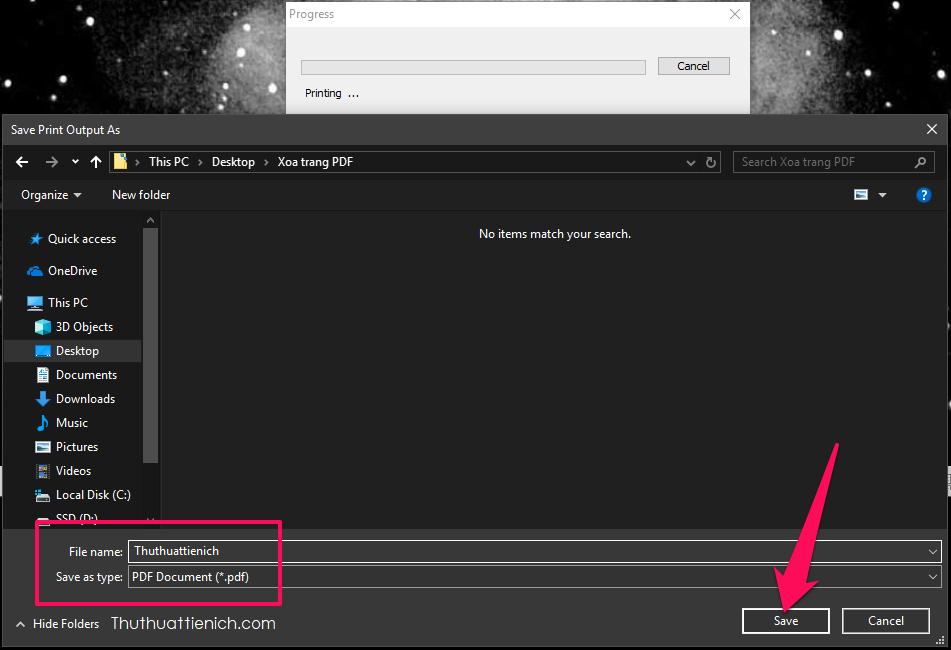 Chọn tên cho file PDF sau khi xóa trang, rồi nhấn nút Save. Lúc này quá trình cắt trang và tạo file PDF mới sẽ bắt đầu