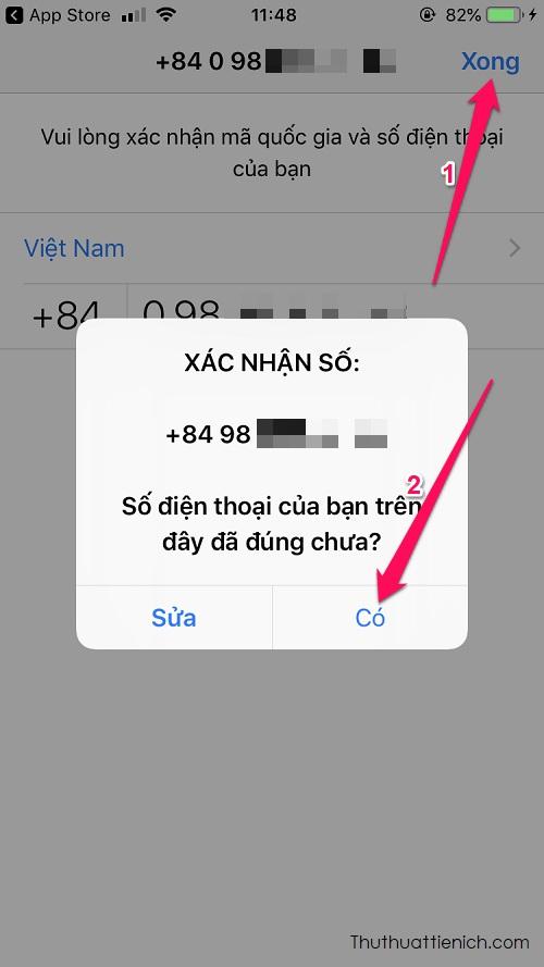 Nhập số điện thoại của bạn, nhấn nút Xong → Chọn Có để xác nhận số điện thoại