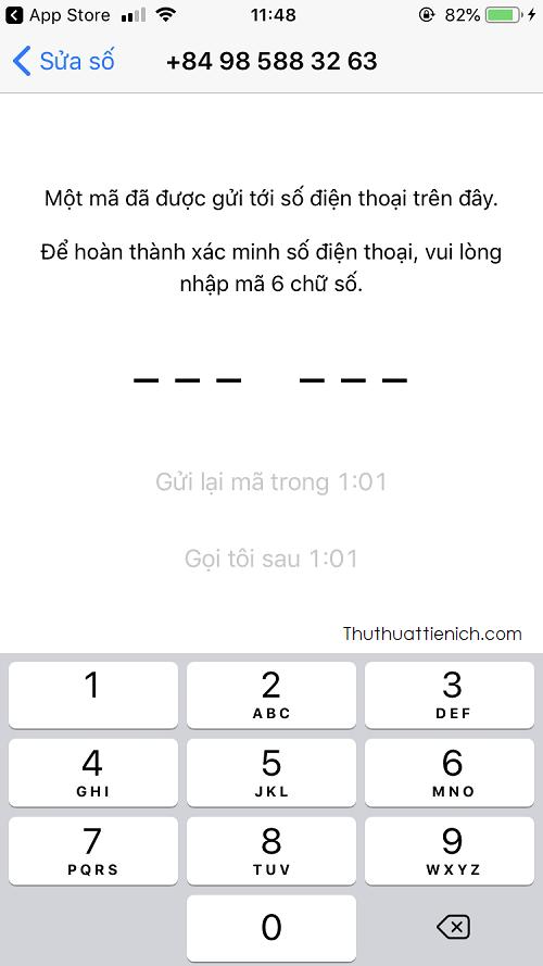Nhận mã xác minh gửi về điện thoại → Nhập mã xác minh vào Whatsapp