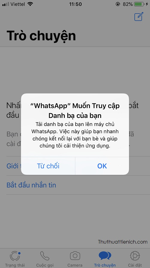Giao diện tài khoản Whatsapp