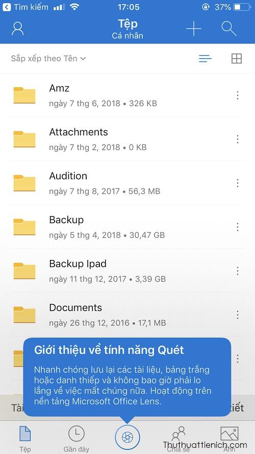 Giao diện OneDrive trên điện thoại