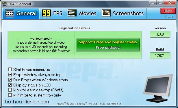 Fraps - phần mềm chuyên dụng kiểm tra FPS