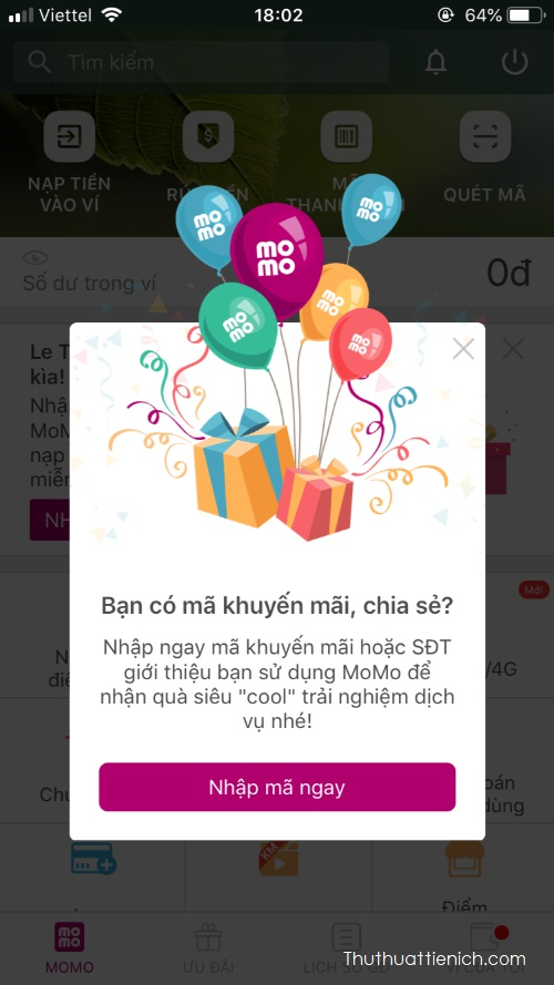 Nhập mã khuyến mãi để nhận quà từ Momo