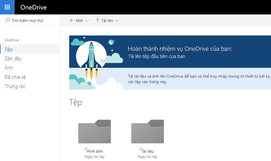 Giao diện OneDrive trên máy tính