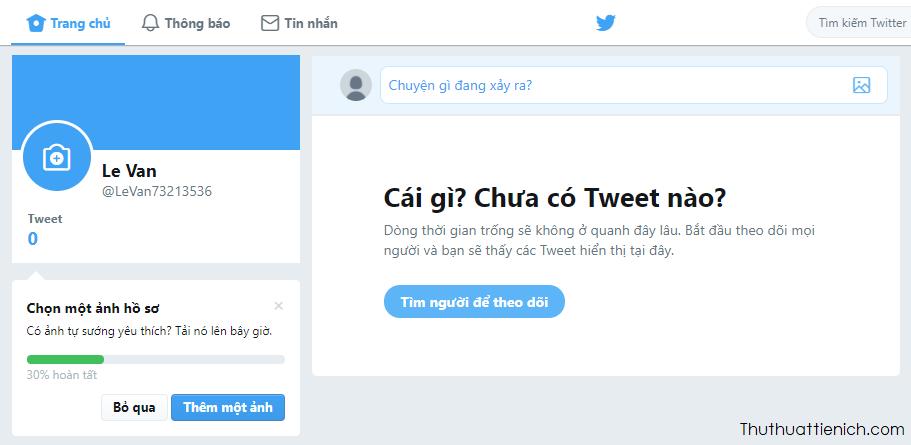 Giao diện trang cá nhân Twitter