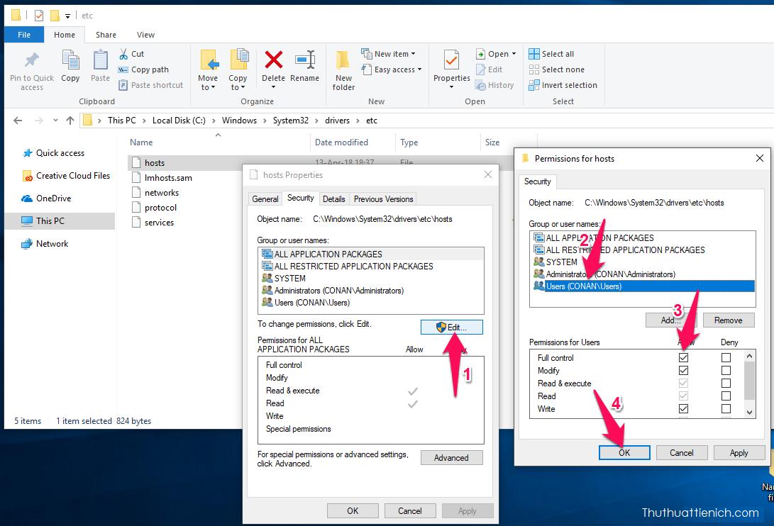 Sỗi file hosts không cho lưu