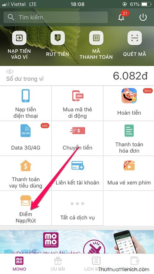 Tìm điểm Nạp/Rút trên ứng dụng Momo