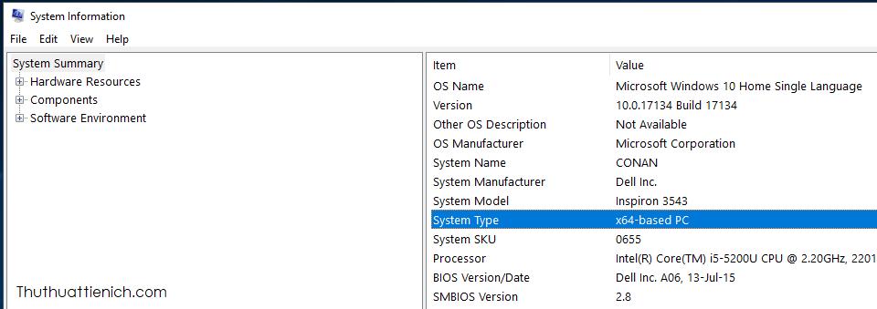 Xem máy tính đang sử dụng Windows 32-bit (x86) hay Windows 64-bit (x64) trong phần System Type