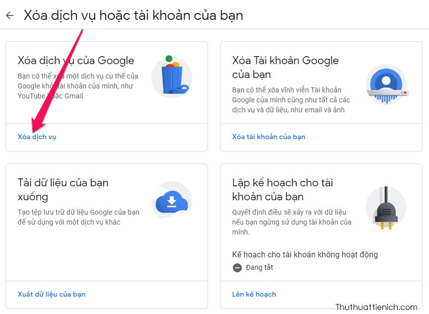 Nhấn nút Xoá dịch vụ trong phần Xoá dịch vụ của Google