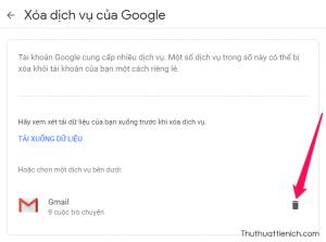 Nhấn nút thùng rác bên phải dịch vụ Gmail