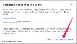 Nhập địa chỉ email rồi nhấn nút Gửi email xác minh