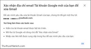 Một email xác minh đã được tài khoản email bạn vừa nhập