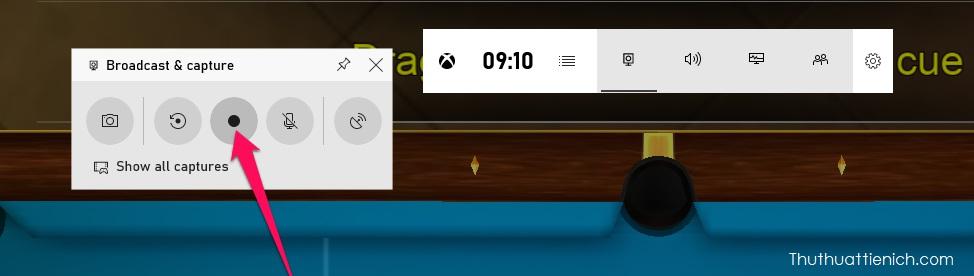 Nhấn nút Start recording để ghi màn hình