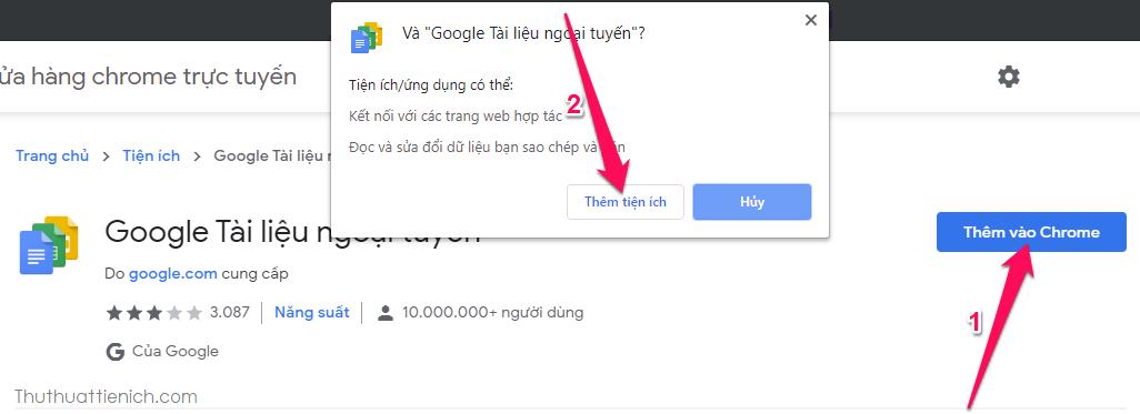 Cài đặt tiện ích mở rộng Google Docs Offline
