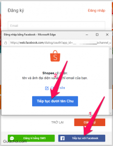 Bước 2: Nhấn nút Tiếp tục với Facebook → Tiếp tục dưới tên