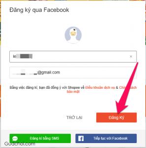 Bước 3: Xem lại tên đăng nhập và email được nhập từ Facebook rồi nhấn nút Đăng ký
