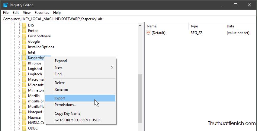 Mở Windows Registry, nhấn chuột phải lên key muốn sao lưu chọn Export