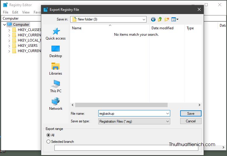 Chọn nơi lưu file backup, đặt tên rồi nhấn nút Save