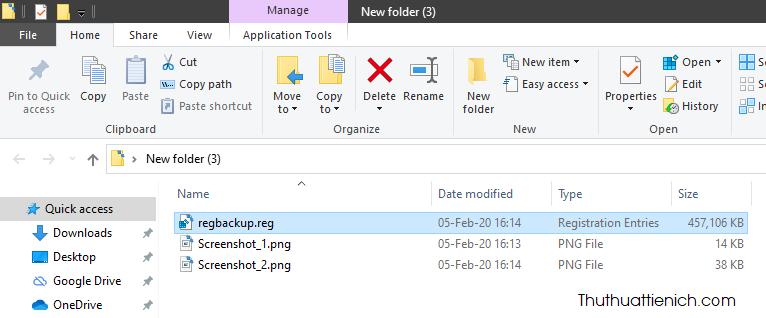 Sau khi quá trình hoàn tất, bạn sẽ thấy một file *.reg được tạo cho thư mục chọn ở trên