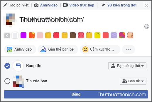 Mở khung nhập status trên Facebook, nhấn chuột phải vào khung nhập status chọn Dán (hoặc paste)