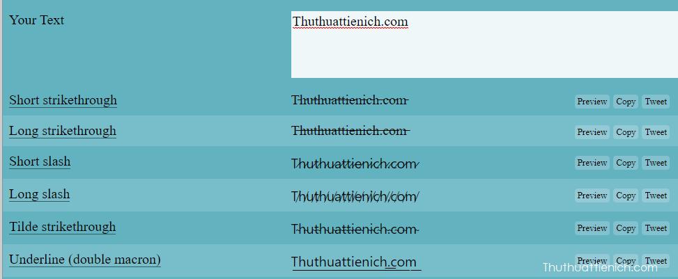 Nhập nội dung status bạn muốn chuyển đổi vào khung Your Text. Bôi đậm kiểu chữ bạn muốn sử dụng rồi nhấn nút Sao chép (hoặc Copy) hoặc nhấn nút copy bên phải kiểu chữ đó