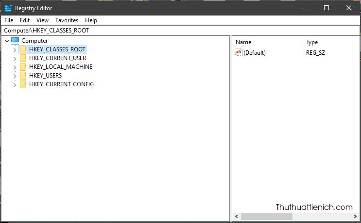 Giao diện Windows Registry