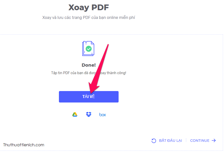 Nhấn nút Tải về để tải file PDF sau khi xoay về máy tính