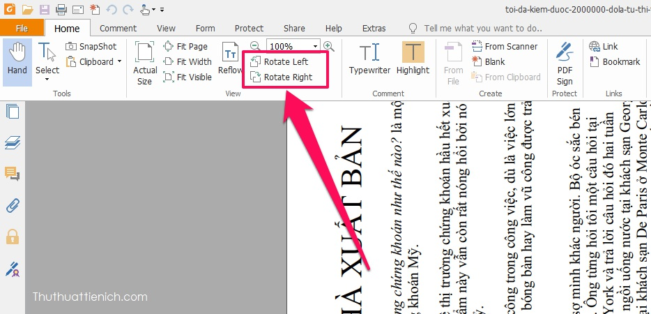 Nhấn vào Home trên thanh công cụ, bạn sẽ thấy 2 công cụ xoay là Rotate Left (Xoay trái) và Rotate Right (Xoay phải)