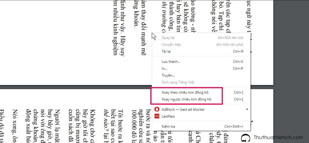 Nhấn chuột phải lên file PDF bạn sẽ thấy 2 lựa chọn là Xoay theo chiều kim đồng hồ hoặc ngược chiều kim đồng hồ