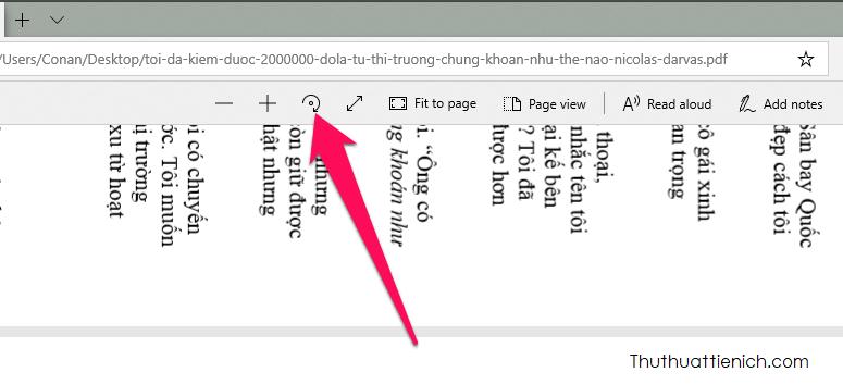 Trên thanh công cụ bạn sẽ thấy nút xoay file PDF như hình dưới, nhấn vào để xoay theo ý bạn