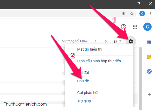 In the Gmail mailbox, click the gear button below the avatar and choose Subject