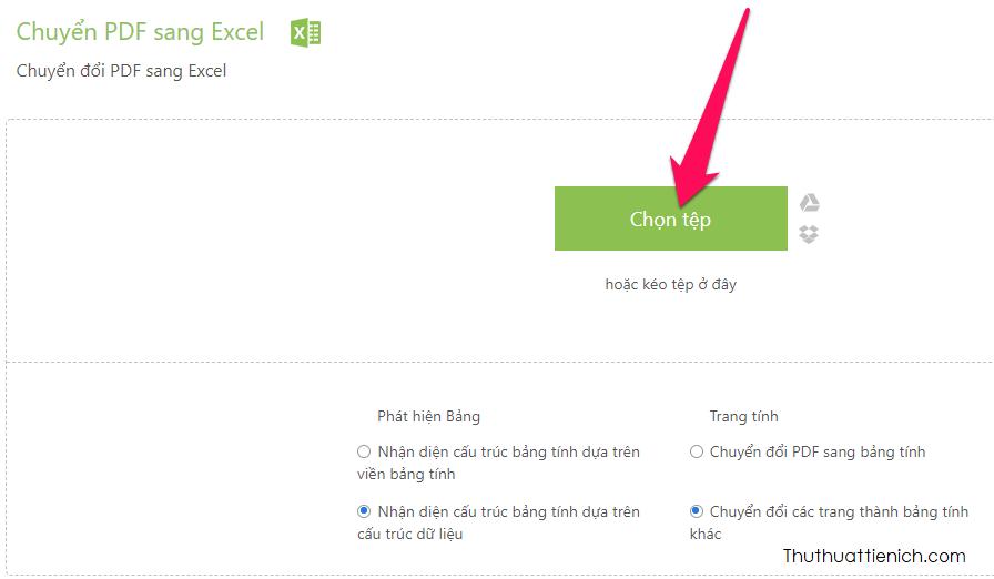 Nhấn nút Chọn tệp để tải lên file PDF muốn chuyển đổi từ máy tính