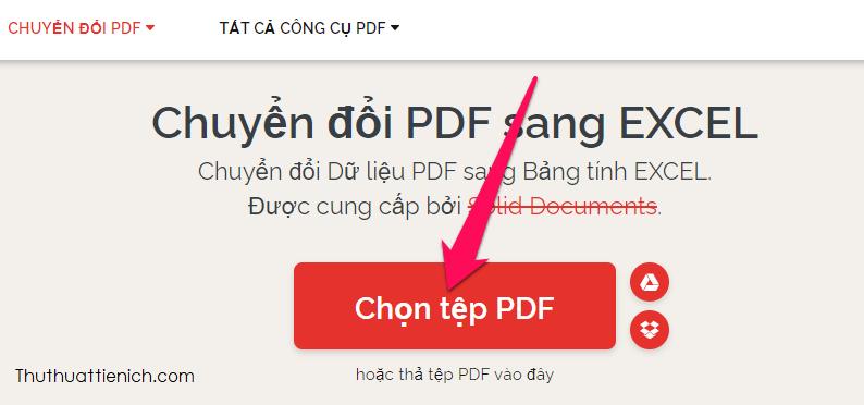 Nhấn nút Chọn tệp PDF để tải lên file PDF từ máy tính