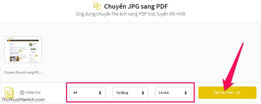 Tùy chỉnh khổ giấy và lề nếu muốn rồi nhấn nút Tạo file PDF