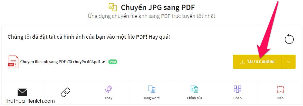 Nhấn nút Tải file xuống để tải file PDF về máy tính