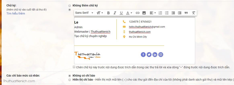 Mở chỉnh sửa chữ ký trong Gmail, nhấn chuột phải lên khung soạn thảo chữ ký chọn Dán (hoặc Ctrl + V) để dán chữ ký vừa tạo ở trên