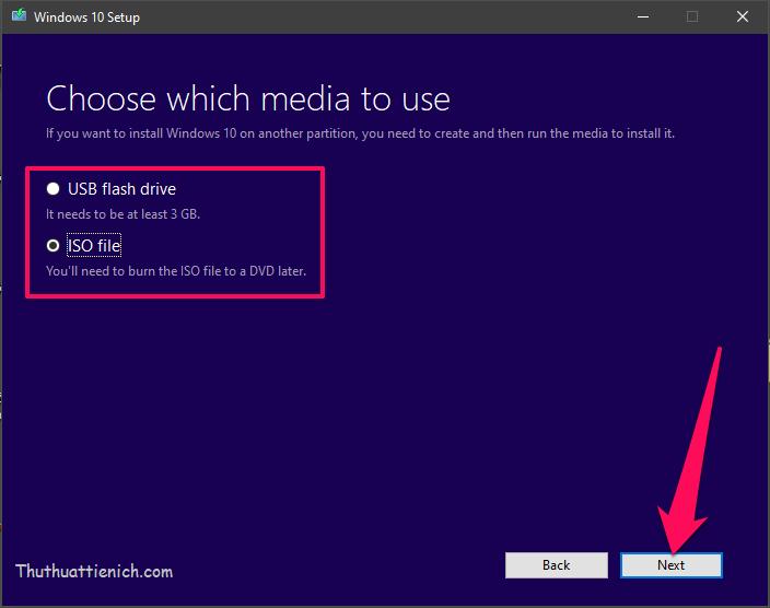 Chọn các tải về bộ cài Windows rồi nhấn nút Next