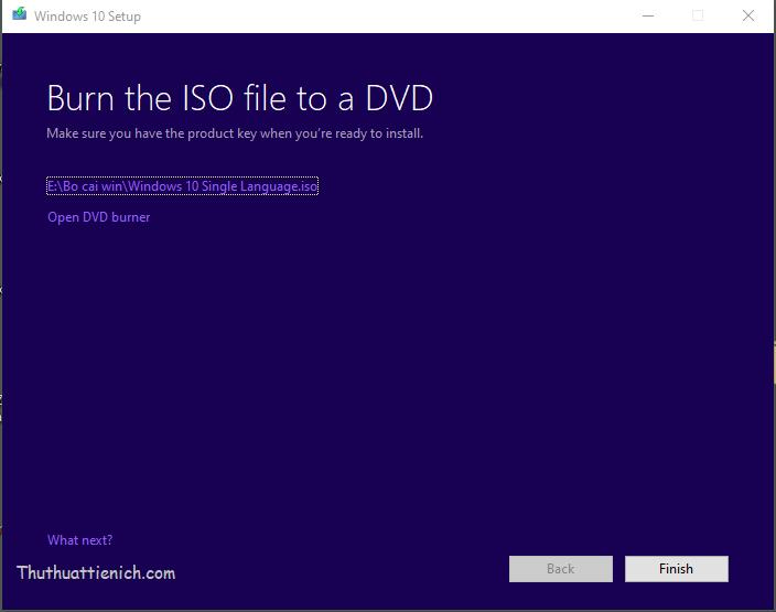 Tải xong bộ cài Windows 10